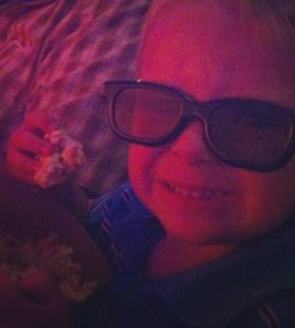 Nick enjoyed having popcorn for breakfast while taking in Brave in 3D.