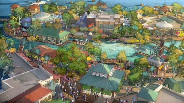 Disney Springs concept art. These areas are called Town Center and the Landing. Photo copyrighted by Disney.