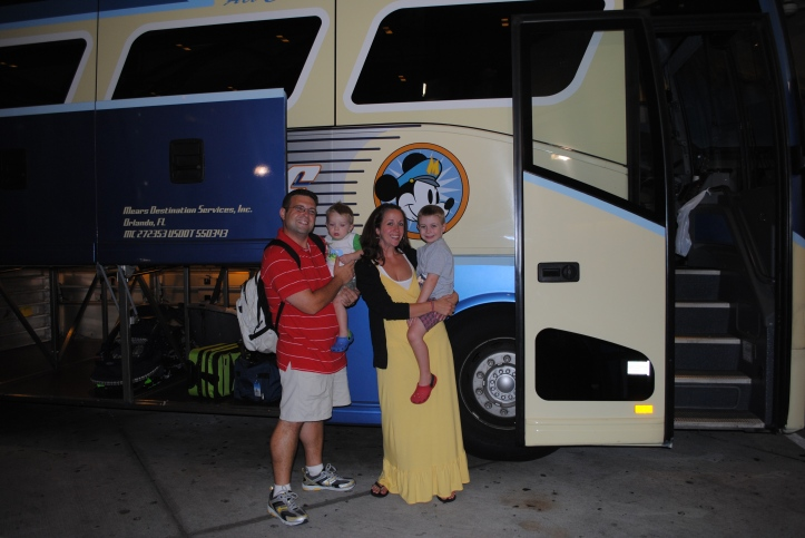 "Another happy family boards the ""Mickey Bus""!"